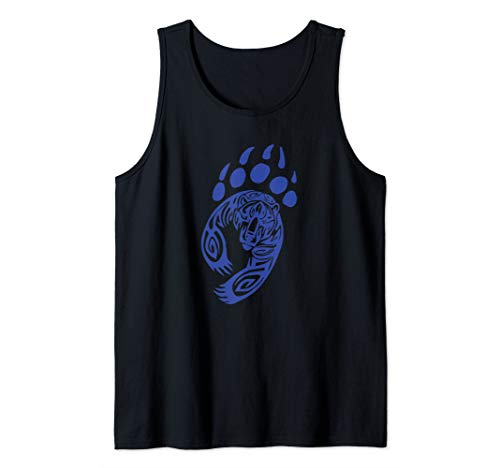 Bear Paw Print Tribal Grizzly Black Papa Momma Tribe Claw Tank Top -