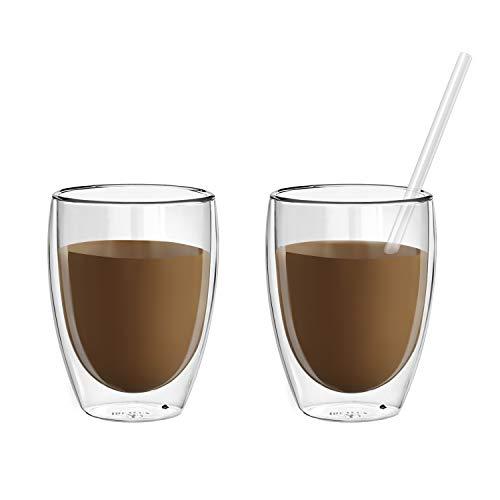Coffee or Tea Glass Mugs Drinking Glasses Set of 2-12 oz Double Walled Thermo Insulated Cups, Latte Cappuccino Espresso Glassware with 1 Free Glass Straw