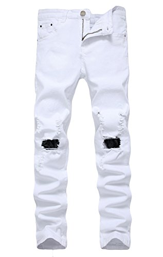 YTD Men's Zipper Biker Jeans Ripped Distressed Slit Denim Slim Stretch Moto Pants (US 38, White)