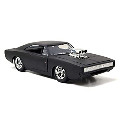 Jada Toys Fast & Furious F7- Dom's 1970 Dodge Charger Street Matte Black Die-cast Collectible Toy Vehicle: Toys & Games