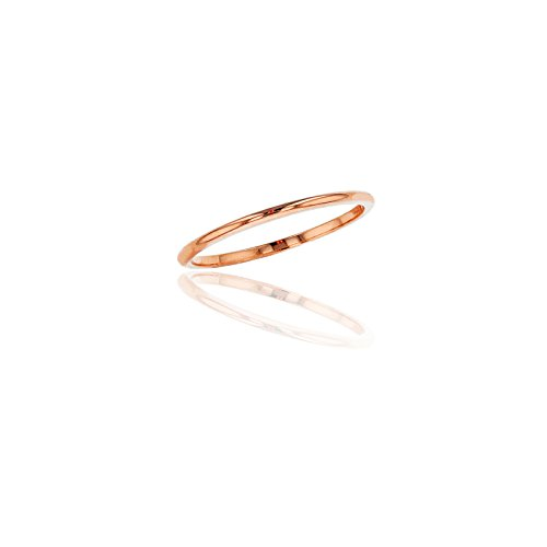 Yellow Gold Wedding Set (14K Rose Gold 1mm Polished Plain Wedding Band)