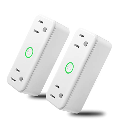 NEXGADGET 10A/1200W Wi-Fi Smart Plug, Dual Outlet Mini Socket with Separated Remote Control,Timing Switch with Energy Monitoring-Works with Alexa and Google Home,No Hub Required-2Pack by NEXGADGET