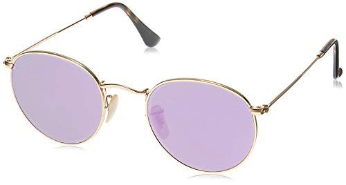 Ray-Ban RB3447N Round Flat Lenses Metal Sunglasses, Shiny Gold/Lilac Flash, 50 mm (Ray Ban John Lennon)