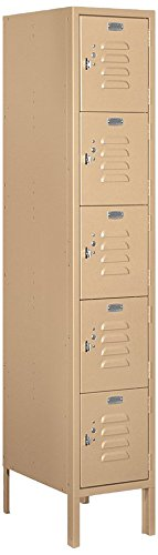 5 Tier Box Locker - Salsbury Industries 65158TN-U Five Tier Box Style 12-Inch Wide 5-Feet High 18-Inch Deep Unassembled Standard Metal Locker, Tan Brown