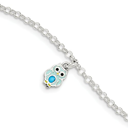 925 Sterling Silver Childrens Enameled Owl Bracelet 6 Inch Fine Jewelry For Women Gift Set ()