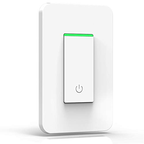 Smart Wifi Light Switch – with Timer and Mechanical Button Switch, Multi-person Control No Hub Required, Compatible with Amazon Alexa Echo Google Assistant IFTTT iOS Android Light Switch – One Way
