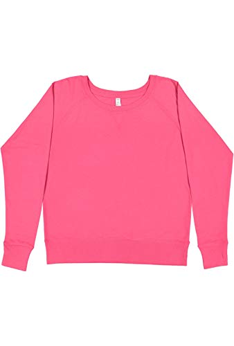 LAT Ladies Lightweight French Terry V-Neck Pullover XX-Large Hot Pink