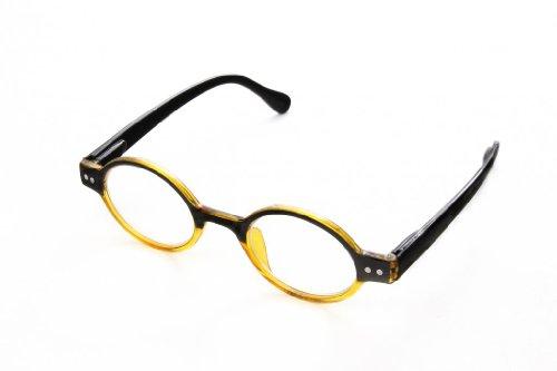 Clear Optix Crystal (Hot Optix Round Retro Reading Glasses, Gold Crystal & Black Frame/Clear Lens/+1.25 Power)