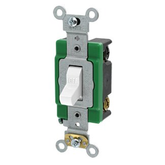 Leviton 3032-2W 30 Amp, 120/277 Volt, Toggle Double-Pole AC Quiet Switch, Extra Heavy Duty Spec Grade, Self Grounding, Back and Side Wired, White