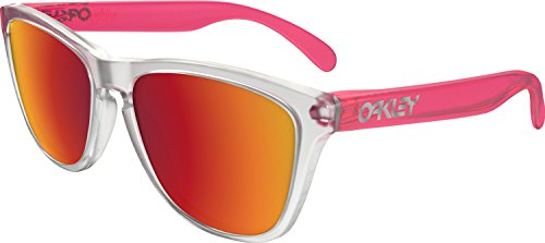 Oakley Men's Frogskins (a) Non-Polarized Iridium Rectangular Sunglasses, Matte Clear, 54 - Sunglasses Frogskins