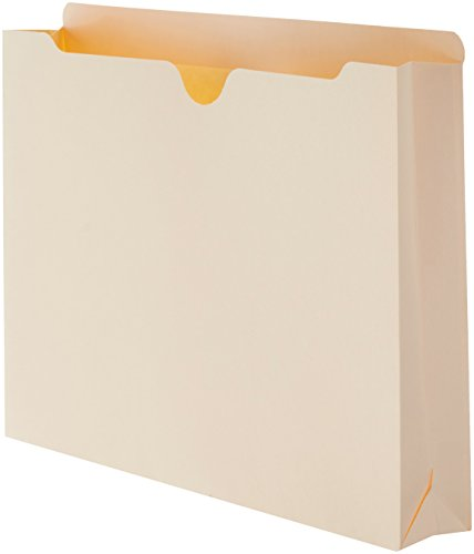 AmazonBasics File Jacket, Reinforced Straight-Cut Tab, 2-Inch Expansion, Letter Size, Manila, (Manila Filing Folders)