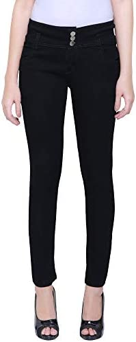 HOVAC Triple Buttoned Slim Fit Stretchable Denim Jeans for Girls and Women (Black)