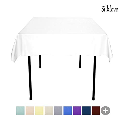 (SilkLove Tablecloth - 54 x 54 Inch -White-Square Polyester Table Cloth, Wrinkle,Stain Resistant - Great for Buffet Table, Parties, Holiday Dinner &)