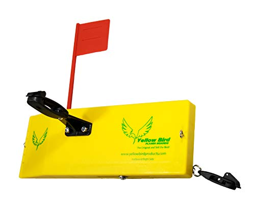 Yellow Bird Fishing Products Totally Redesigned 10 Large Planer Board (600S Starboard Side with Working Tattle Flag, Enclosed Back, Adjustable Weight & (2) New Quick Grip Snap Releases)