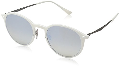 Ray-Ban Men's Light Ray Non-Polarized Iridium Round Sunglasses, White, 49 mm