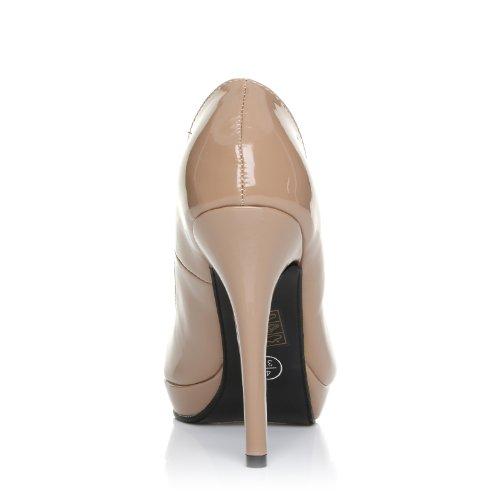 Damen Pumps EVE High Heels Stöckelschuhe Lackleder PU Leder Stilettos High Heels Plateau Pumps Dunkle Hautfarbe Lackleder