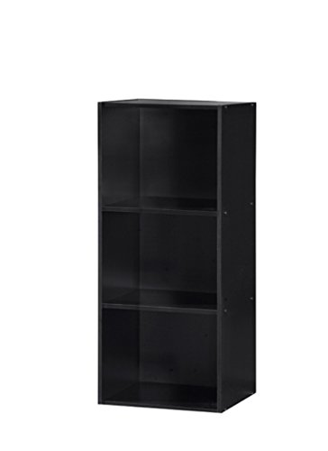 Hodedah 3 Shelve Bookcase, Black
