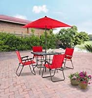 Mainstays Searcy Lane 6-piece Padded Folding Patio Dining Set, Red, Seats 4