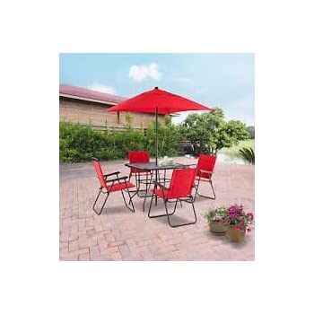 This Item Mainstays Searcy Lane 6 Piece Padded Folding Patio Dining Set,  Red, Seats 4