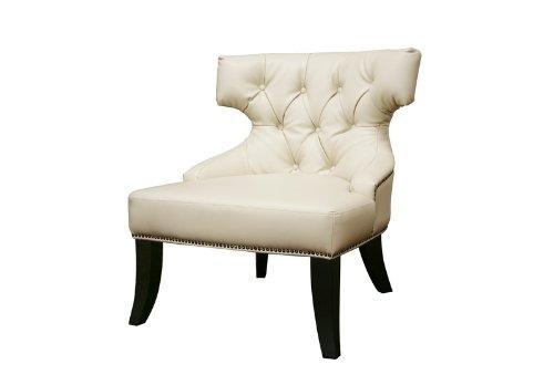 Baxton Studio Taft Off-White Leather Club Chair, Off-white