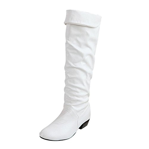 Fullfun Women's Winter Knee High Boots Flat Heels PU Leather Riding Boots (9, White)