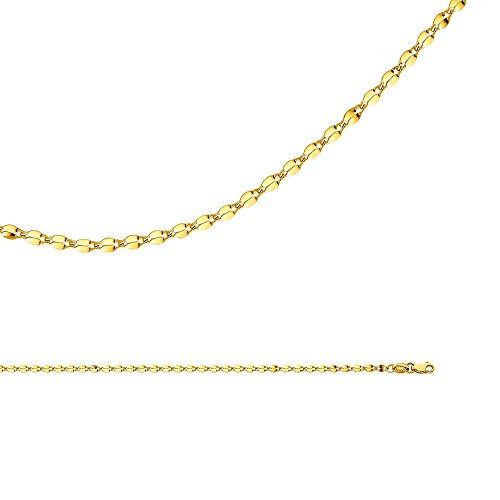 Mirror Chain Solid 14k Yellow Gold Necklace Curved Double Link Hollow Polished Light, 2.2 mm - 16 inch