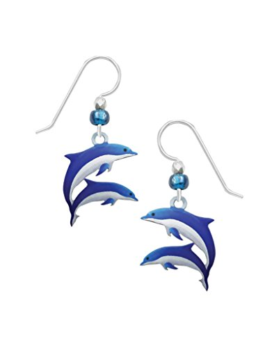 Sienna Sky Blue and White Dolphin Earrings 1976