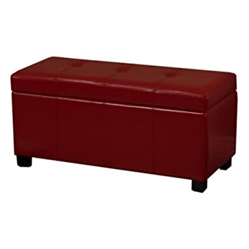 Tufted,Storage Bench,with Removable Lid|Flip Top,Red