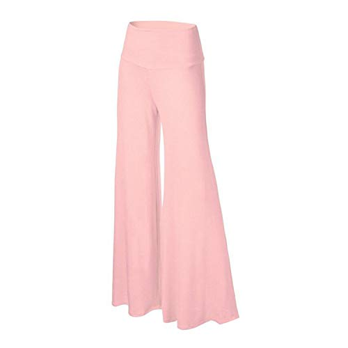 (Plus Size Solid Loose Palazzo Trousers Elegant High Waist Pants 8 Colors Ladies,Pink,M)