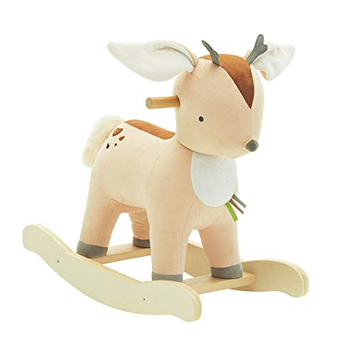 labebe 【New】 Baby Rocking Horse Plush, Male Fawn Rocker Toy for Child 1-3 Years, Musical Rocking Horse/Fawn Rocking Horse/Deer Rocker/Reindeer Rocking Horse/Riding Horse/Stuffed Animal Rocker