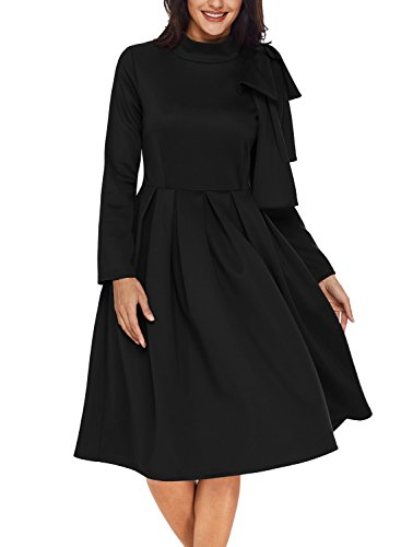 Black Womens Dress (AlvaQ Womens Long Sleeve High Waisted Pleated Swing A Line Skater Party Midi Dress Cocktail Wine, X-Large, Black)
