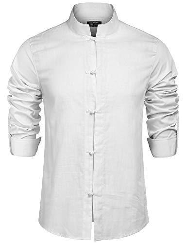 JINIDU JINDUMen'sLinenCottonMandarinPointCollarLongSleeveFrog-ButtonShirt White (Frog Long Sleeve Shirt)