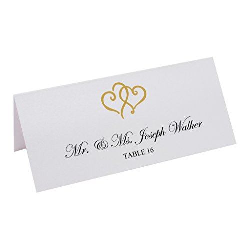Documents and Designs Linked Hearts Easy Print Place Cards, Pearl White, Gold, Set of 75 (13 Sheets) by Documents and Designs (Image #5)