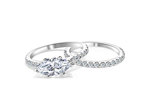 Marquise Forever ONE colorless engagement set Marquise shape 14k White Gold ()