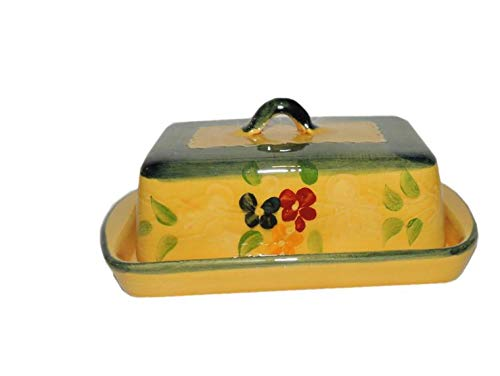 Souleo, Provence Terre è Provence, Traditional European Square Covered Butter Dish, Divers Pattern, 7.5'' Inch Long