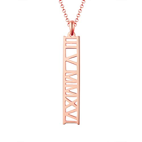 MissNity Customized Name Necklace Personalized Sterling Silver Rose Gold Plated Cut Out Design Roman Numeral Pendant Wedding Gift for Women (Rose ()