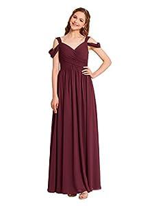 Alicepub V-Neck Chiffon Bridesmaid Dress for Women Formal Evening Party Prom Dress Long