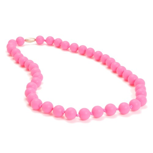 Chewbeads Jane Teething Necklace (Pink) - Original Fashionable Infant Teething Jewelry for Mom. 100% Medical Grade Silicone Safe for Teething Babies and Toddlers. BPA-Free