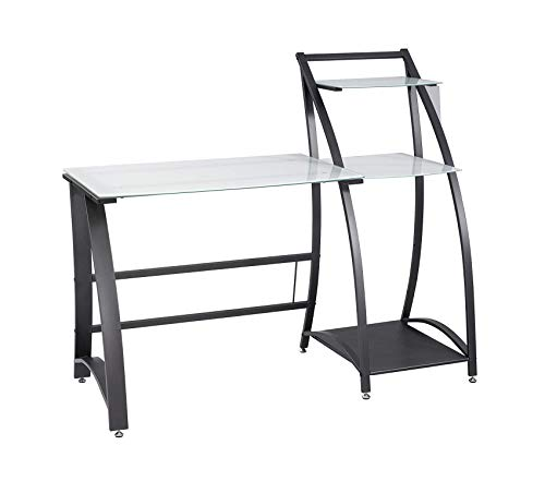 - Sаfcо Prоducts Xpressions Glass Top Computer Workstation Desk with Shelves (Keyboard Tray Sold Separately), Tempered Glass/Black Frame