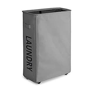 "ZERO JET LAG Rolling Slim Laundry Hamper with Stand Foldable Tall Thin Dirty Laundry Hamper Basket Home Corner Handy Waterproof Sorter and Organizer on Wheels 15.4""×7.8""×22"" (Gray)"