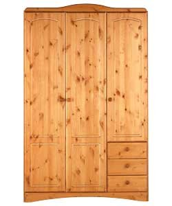 Aviemore 3 Door 3 Narrow Drawer Wardrobe Pine Amazon Co Uk