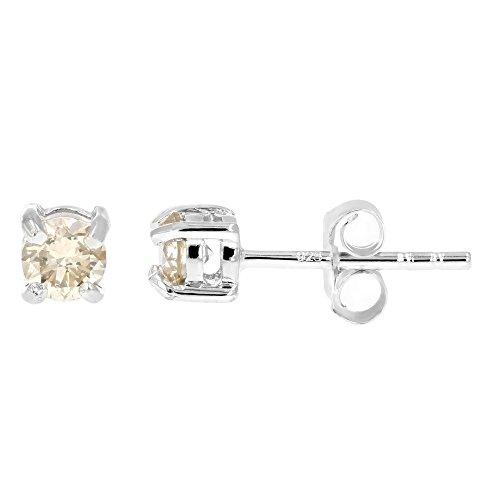 - 0.40 cttw Champagne Diamond Stud Earrings .925 Sterling Silver