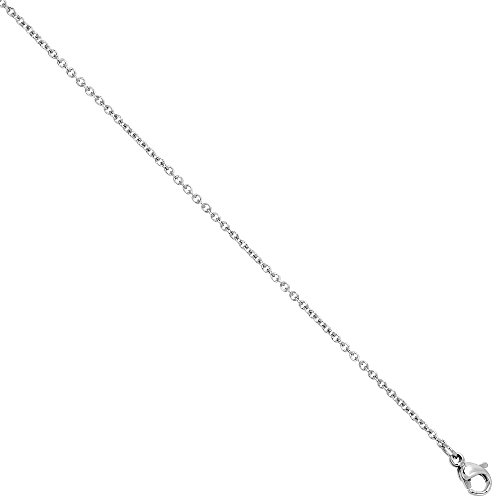 Surgical Steel Cable Chain Necklace 1.55mm Very Thin, 16 inch