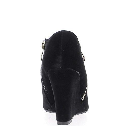 La cuña del talón negro botas de gamuza de aspecto 9 cm
