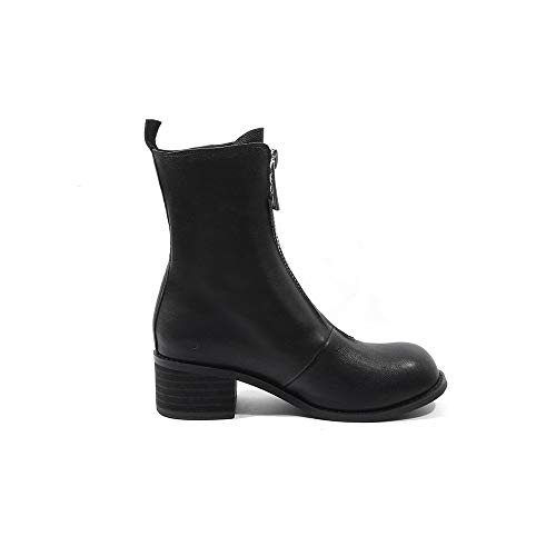 Women's Round Boots Mid Genuine Leather Zip Calf Black Handmade Seven Nine Heel Walking Toe Chunky Mid Comfort Dress ItHSxUq