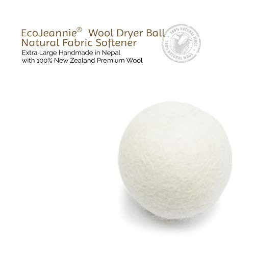 EcoJeannie Wool Dryer Ball 1 Piece - Premium XL Organic Eco-Friendly Natural Unscented Non-Toxic Felt Laundry Ball
