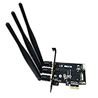 WiFi + Bluetooth 4.0 Card to PCI-E x1 Adapter Card PC/Hackintosh Without BCM943224PCIEBT2/bcm94360CS2/BCM943602CS (black)