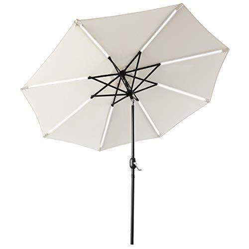 ABCCANOPY Patio Umbrella Solar Powered Outdoor Umbrella, 9 FT Market Umbrella 8 Ribs with Solar LED Light Bars, Push-Button Tilt and Crank (Light Beige)