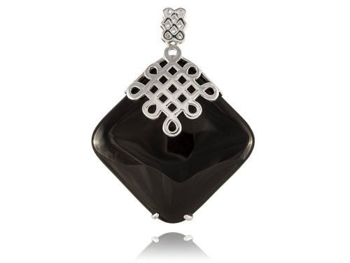 (Onyx Top Knot Pendant, 925 Sterling)