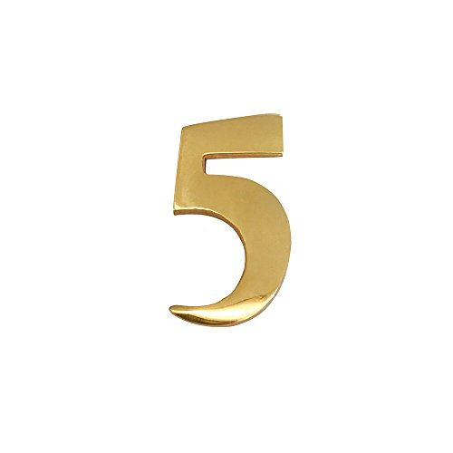 (Addresses of Distinction 2-Inch Brass Mailbox Number 5 – Self Adhesive Floating #5 – Williamsburg Font – Won't Tarnish – Weather Resistant – Numbering for Address Plaque, Home, Front Door,)
